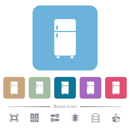 Refrigerator white flat icons on color rounded square backgrounds. 6 bonus icons included