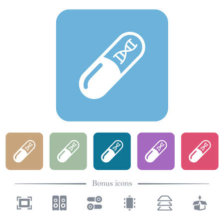 Medicine with dna molecule white flat icons on color rounded square backgrounds. 6 bonus icons included