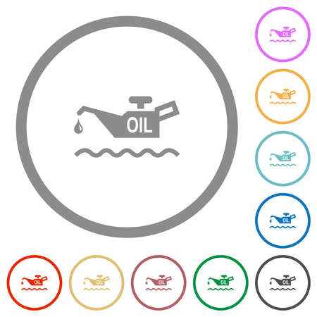 Oil level indicator flat color icons in round outlines on white background