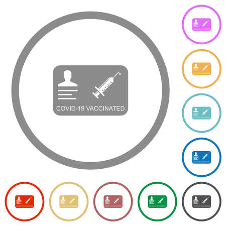 Covid 19 vaccinated flat color icons in round outlines on white background 矢量图像