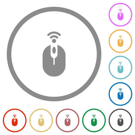 Wireless computer mouse flat color icons in round outlines on white background 스톡 콘텐츠 - 167329119