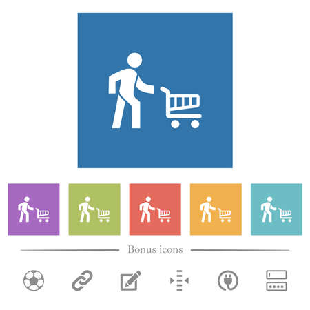 Shopping person with cart flat white icons in square backgrounds. 6 bonus icons included. 矢量图像