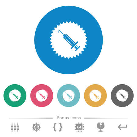 Certified vaccine flat white icons on round color backgrounds. 6 bonus icons included.