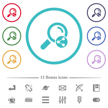 Share search flat color icons in circle shape outlines. 12 bonus icons included.