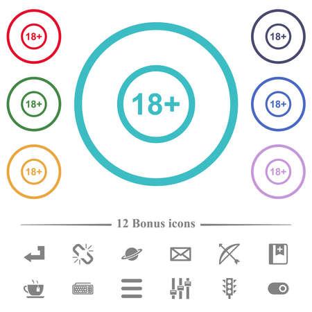 Allowed above 18 years only flat color icons in circle shape outlines. 12 bonus icons included.