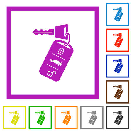 Car key with remote control flat color icons in square frames on white background