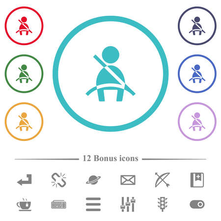 Car seat belt warning indicator flat color icons in circle shape outlines. 12 bonus icons included. 矢量图像