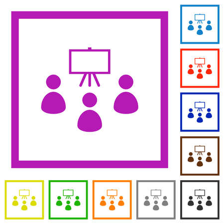 Classroom flat color icons in square frames on white background 矢量图像