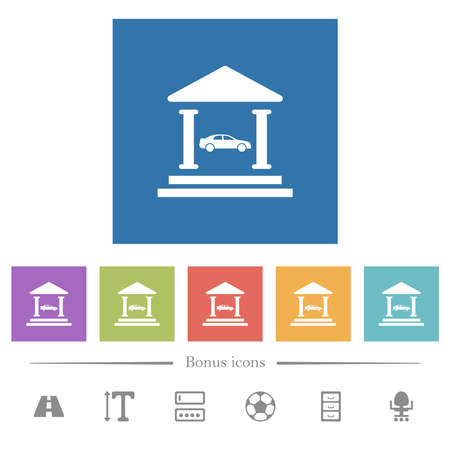 Car loan flat white icons in square backgrounds. 6 bonus icons included.