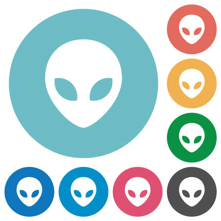 Alien head flat white icons on round color backgrounds Vector Illustratie
