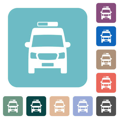 Ambulance car front view white flat icons on color rounded square backgrounds