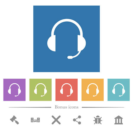 Headset with microphone flat white icons in square backgrounds. 6 bonus icons included. Vetores