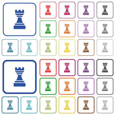Black chess rook color flat icons in rounded square frames. Thin and thick versions included.