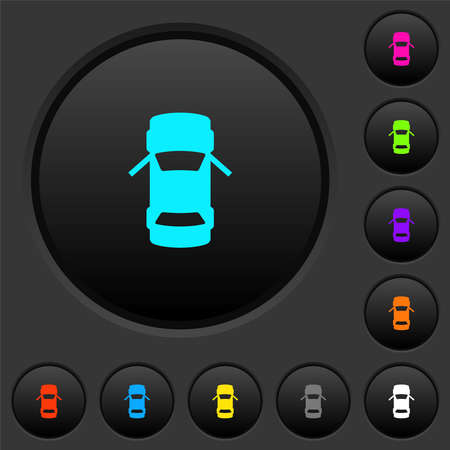 Car open front doors dashboard indicator dark push buttons with vivid color icons on dark gray background