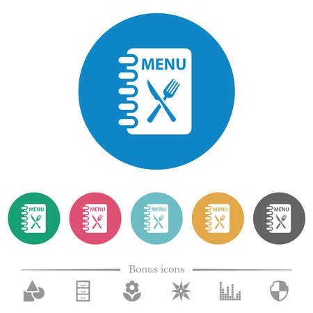 Menu with fork and knife flat white icons on round color backgrounds. 6 bonus icons included.