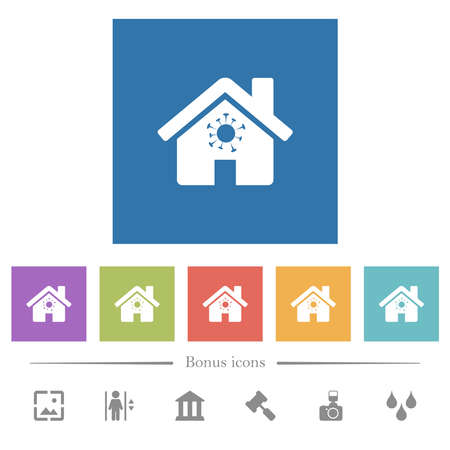 Home quarantine flat white icons in square backgrounds. 6 bonus icons included.