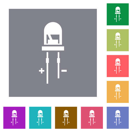 Light Emitting Diode flat icons on simple color square backgrounds
