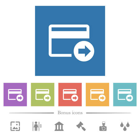 Send money with credit card flat white icons in square backgrounds. 6 bonus icons included.