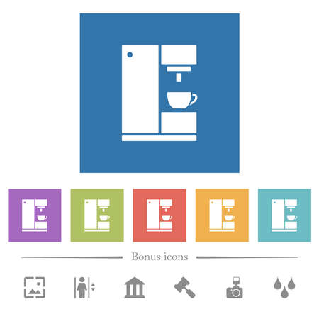Coffee machine flat white icons in square backgrounds. 6 bonus icons included.