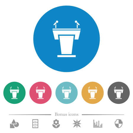 Conference podium with microphones flat white icons on round color backgrounds. 6 bonus icons included.