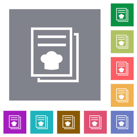 cookbook with chef hat flat icons on simple color square backgrounds