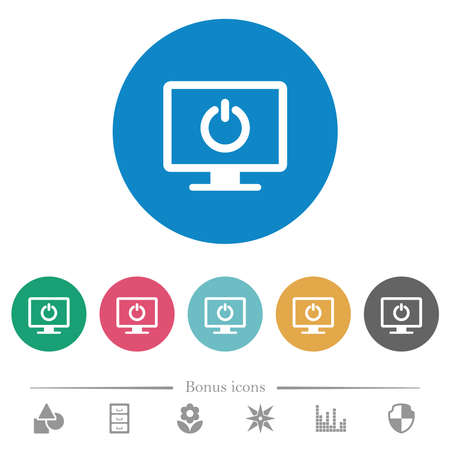 Display standby mode flat white icons on round color backgrounds. 6 bonus icons included. 向量圖像