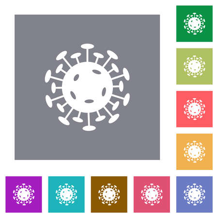 virus flat icons on simple color square backgrounds