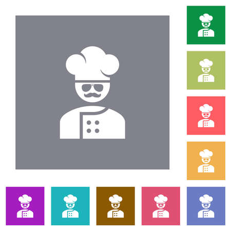 master chef with glasses and mustache flat icons on simple color square backgrounds
