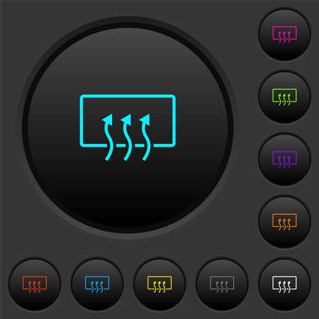 Rear window defrost dark push buttons with vivid color icons on dark gray background