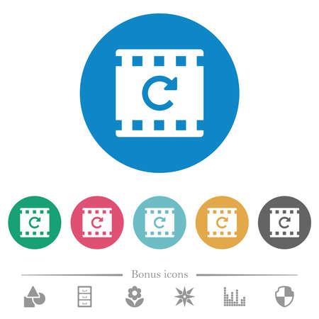 Redo movie operation flat white icons on round color backgrounds. 6 bonus icons included. 向量圖像