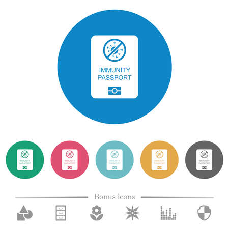 Immunity passport flat white icons on round color backgrounds. 6 bonus icons included.