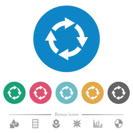 Rotate right flat white icons on round color backgrounds. 6 bonus icons included.