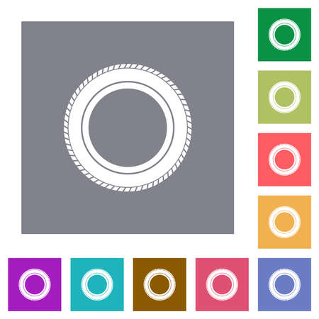 Car tire flat icons on simple color square backgrounds