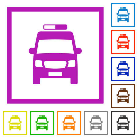 Ambulance car front view flat color icons in square frames on white background
