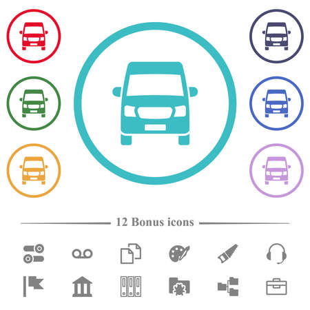 Van front view flat color icons in circle shape outlines. 12 bonus icons included.