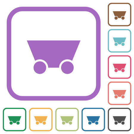 Mine cart simple icons in color rounded square frames on white background