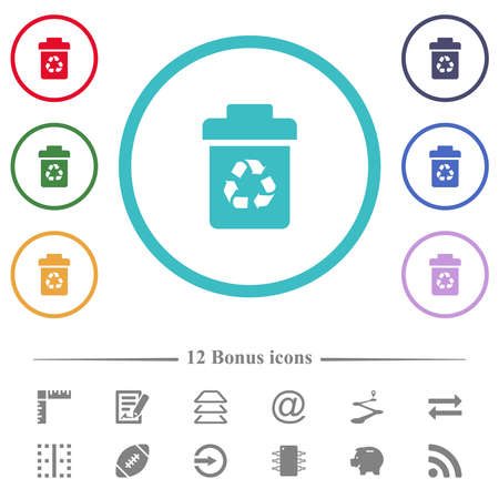 Recycle bin flat color icons in circle shape outlines. 12 bonus icons included.