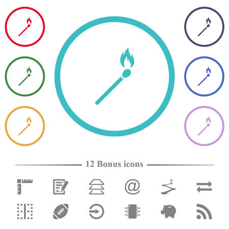 Burning matchstick flat color icons in circle shape outlines. 12 bonus icons included.