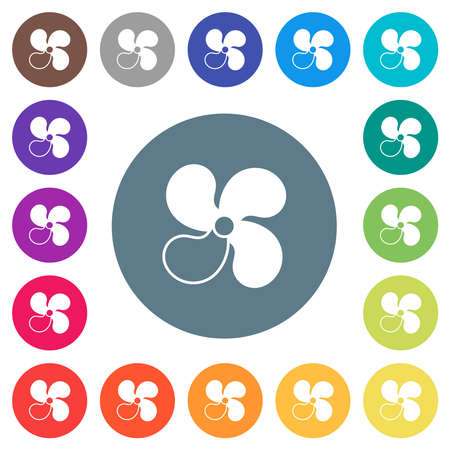 Car fan level 3 flat white icons on round color backgrounds. 17 background color variations are included.