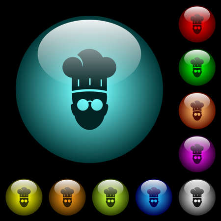 Chef with glasses icons in color illuminated spherical glass buttons on black background. Can be used to black or dark templates