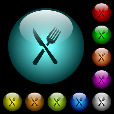 Fork and knife icons in color illuminated spherical glass buttons on black background. Can be used to black or dark templates