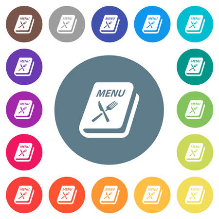 Menu with fork and knife flat white icons on round color backgrounds. 17 background color variations are included.