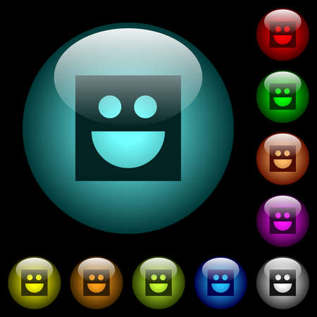 Smiley icons in color illuminated spherical glass buttons on black background. Can be used to black or dark templates