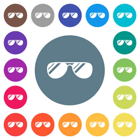 Aviator sunglasses with glosses flat white icons on round color backgrounds. 17 background color variations are included. Illustration