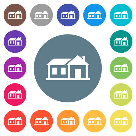 Family house flat white icons on round color backgrounds. 17 background color variations are included.