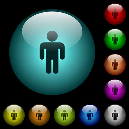Male sign icons in color illuminated spherical glass buttons on black background. Can be used to black or dark templates