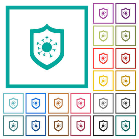 Virus protection flat color icons in circle shape outlines. 12 bonus icons included. Illustration