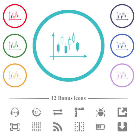 Candlestick graph with axes flat color icons in circle shape outlines. 12 bonus icons included.