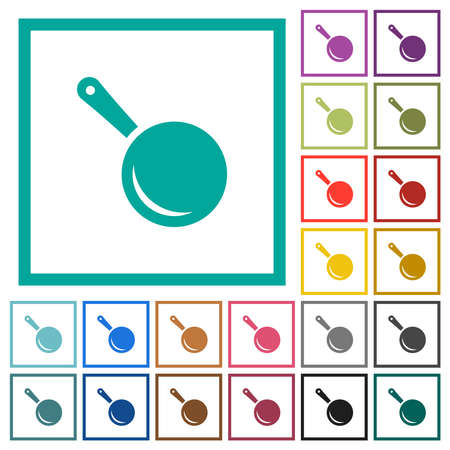 Frying pan top view flat color icons in circle shape outlines. 12 bonus icons included. Illustration