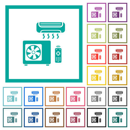 Air conditioning system flat color icons in circle shape outlines. 12 bonus icons included. Illustration